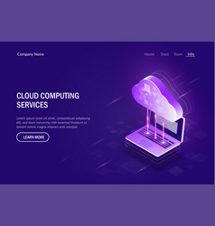 cloud computing services isometric concept vector image