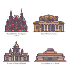 color russia architecture landmarks in thin line vector image