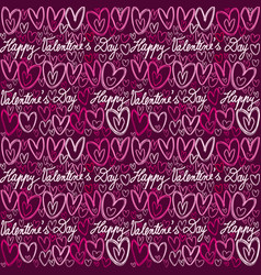 colorful doodle hearts and handwritten lettering vector image