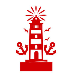 composition of marine symbols in red color vector image