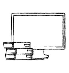 Computer display with pile books vector