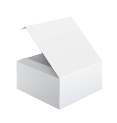 Cool Realistic White Package Box Opened Square vector image
