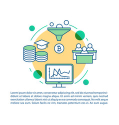 Cryptocurrency course article page template vector