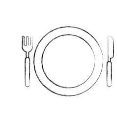 Dish with fork and knife vector
