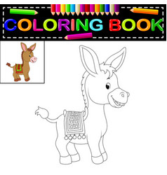donkey coloring book vector image