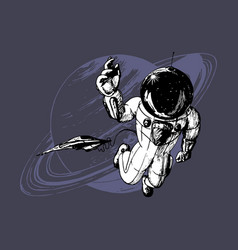Drawn astronaut and space vector