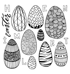 Easter eggs set in doodle style holiday vector