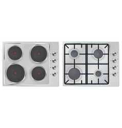 electric and gas cooking top with four burners vector image