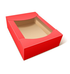 Empty red cardboard box vector
