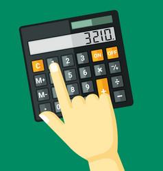 finger clicks on calculator vector image