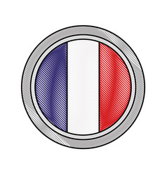 french paris flag in button icon vector image