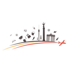 germany silhouette icon on flag and airplane vector image