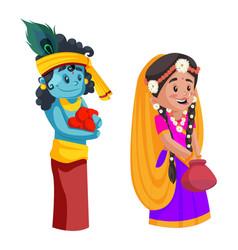 Goddess radha lord krishna cartoon character vector