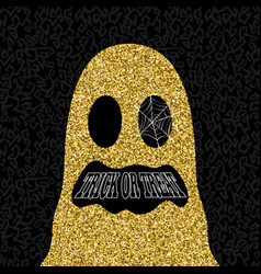 Gold halloween trick or treat ghost vector