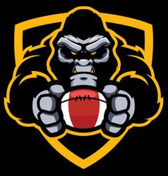 gorilla american football mascot vector image