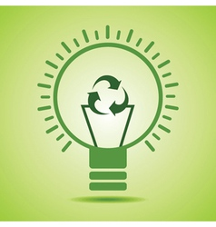 Green recycle icon make filament of an eco bulb vector