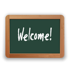 hand drawn welcome word on green blackboard vector image