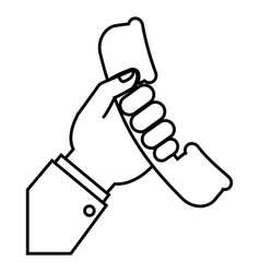 hand holding a phone icon vector image
