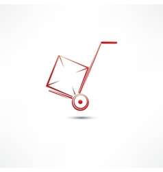 hand truck with cardboard box vector image