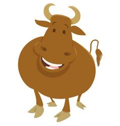 Happy bull farm animal vector
