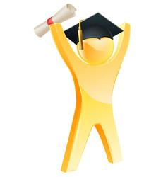happy gold graduate vector image