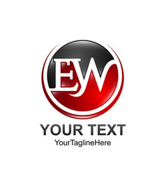 Initial letter ew logo template colored red black vector