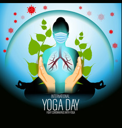 International yoga day concept banner 21 june vector