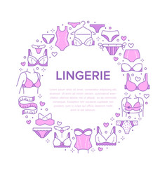 Lingerie circle poster with flat line icons of bra vector