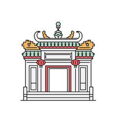 macau city attractions - pagoda-style arch sketch vector image