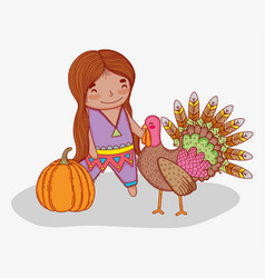 Man indigenous with turkey animal and pumpkin vector
