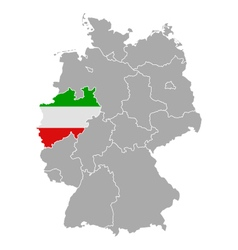 Map of Germany with flag of North Rhine-Westphalia vector