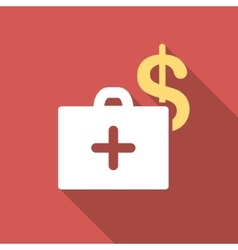 Medical Fund Flat Square Icon with Long Shadow vector
