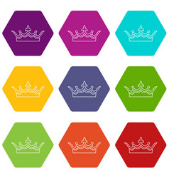 medieval crown icons set 9 vector image