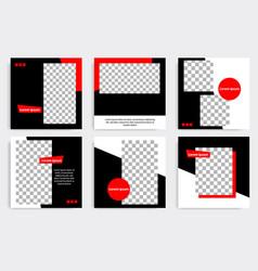 Minimal design background in black red white vector
