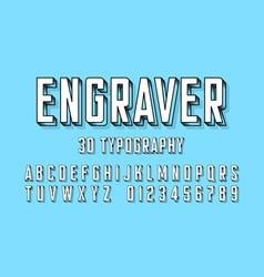 modern engraved font vector image