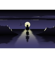 moon over the sea and ship vector image