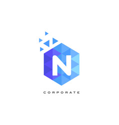 n blue hexagonal letter logo design with mosaic vector image