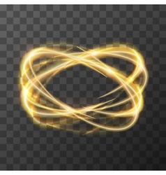 Neon blurry swirl golden trail effect at motion vector image