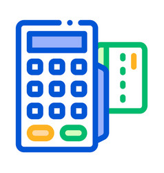 payment terminal bank card thin line icon vector image