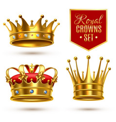 Realistic royal crown icon set vector