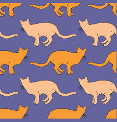 red cat seamless pattern vector image