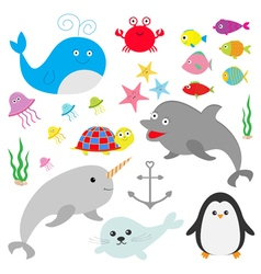 Sea ocean animal fauna set Fish whaledolphin vector