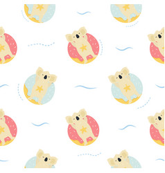seamless pattern cute hand drawn relaxing koals vector image