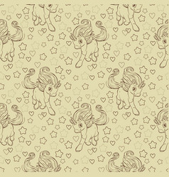 seamless pattern with cute cartoon unicorn and vector image