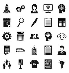 seo business icons set simple style vector image