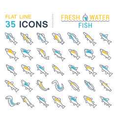 Set line icons freshwater fish vector