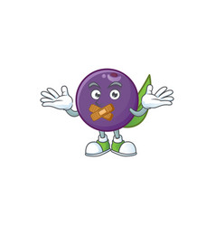 Silent acai berries character for fresh fruit vector