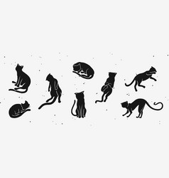 silhouette of the cats funny doodle kitties vector image