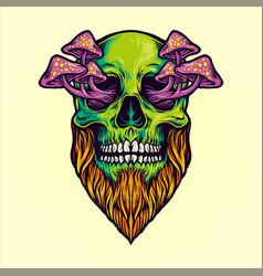 Skull magic mushrooms vector