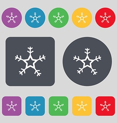 Snow icon sign A set of 12 colored buttons Flat vector